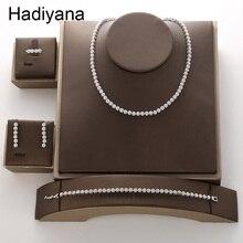HADIYANA Conjunto de joyería con Zirconia cúbica, Conjunto de joyería con Zirconia cúbica redonda, Estilo Vintage, sencillo, a la moda, TZ8084