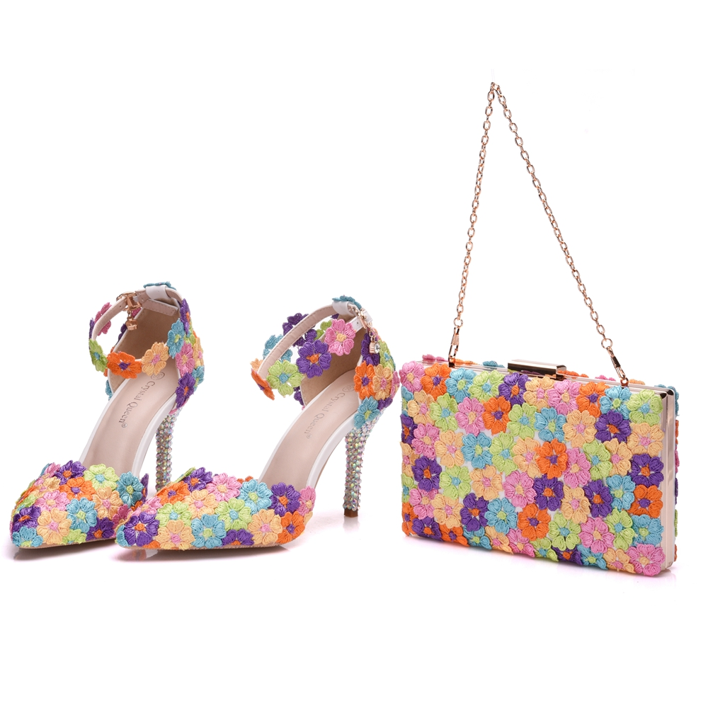 Crystal Queen Multicolor Flower Shining Womens Sandals Wedding Shoes Matching bags Clutches 9CM High Heels Female Pumps Party crystal queen multicolor flower shining crystal womens flat wedding shoes matching bags clutches flats female lady party shoes