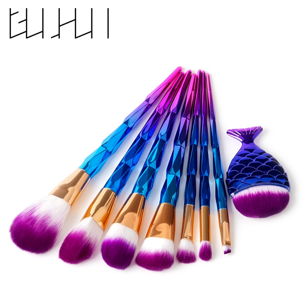 8pcs/set Makeup Brush Kit Diamond Professional Mermaid Brush Cosmetic Beauty Face Soft Synthetic Foundation Brush Set Tool 1set new 4 in1 makeup beauty diy facial face mask bowl brush spoon stick tool set