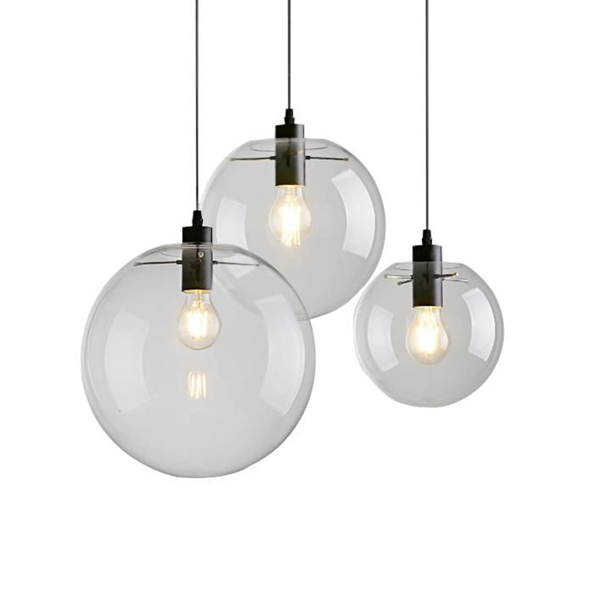 Iets Nieuws Moderne korte Glazen Bol hanglamp, dia 15/20/25/30 cm helder glas &GW09