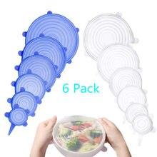 Tapas elásticas para mantener la comida, Bol sellado, de silicona, reutilizables, envoltura, utensilios de cocina, 6 uds.