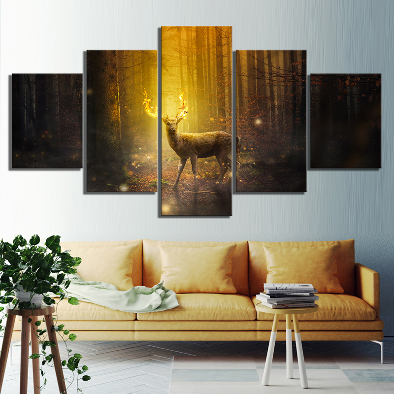 5 Piece Fantasy Art Pictures Animal Deer Paintings Landscape Forest Paintings Canvas Art for Home Decor 1