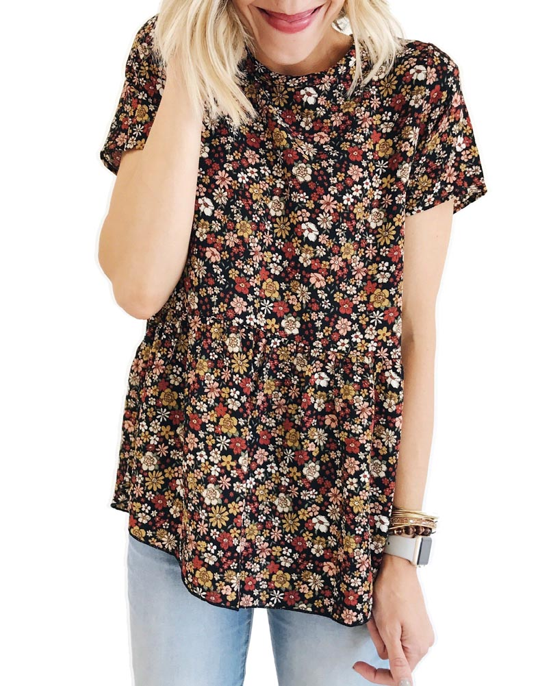 Hitmebox 2019 Fasion Casual Women Short Sleeve Floral printed High Waist Loose Tops Round Neck New Summer Pullover Blouses Shirt