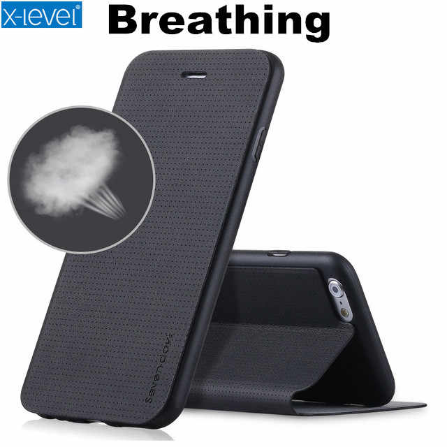 X-Level High Quality Breathing Phone Case for iphone 6 6S 7 Plus 8 Plus PU Flip Cover Leather Case for iphone XS Max 6 plus XR X