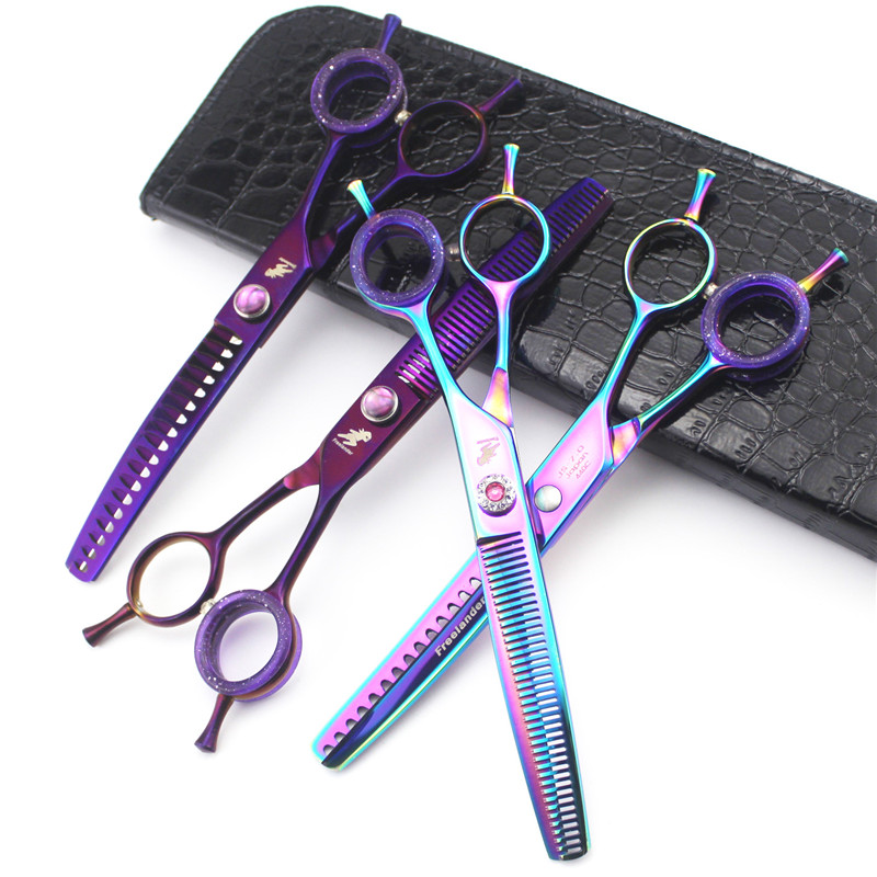 Freelander 7inch Dog Shears Downward Curved Thinning Pet Styling Tool Trimming Hair Shear with Bag Pet Grooming Scissors 7 5 pink rubber handle pet scissors downward curved dog grooming scissors dog hair scissors cat groomer hair clipper