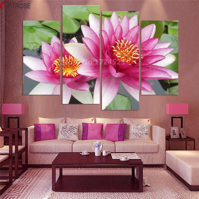 CLSTROSE 4 Pieces Pink Lotus Canvas Painting Wall Art Home Decor For ...