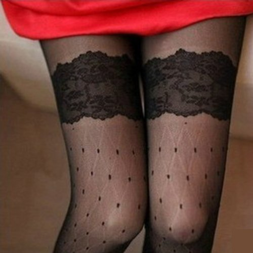 IMC SODIAL(R) Lady Girl Thigh High Stockings Hold Ups Stay Up Tights Lace Dots Sexy