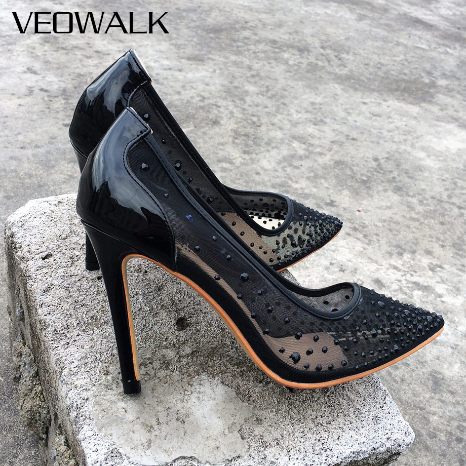 Veowalk Women Pumps Pointed Toe High Heels Sexy Black Summer Shoes For Women See Through Slip on Pumps Party Mesh Shoes see through mesh kimono
