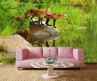 Custom Mural Papel De Parede Foxes Water Stones Animals Wallpaper Restaurant Living Room Tv Sofa Wall