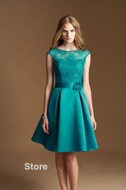 vintage green short Bridesmaid Dresses 2016 simple scoop a line lace ...