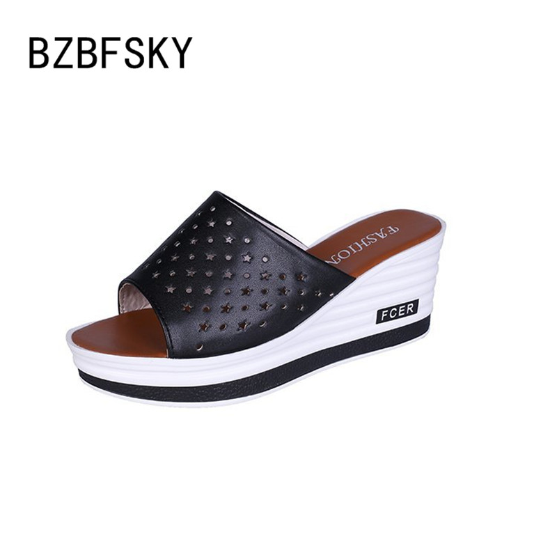 BZBFSKY Women Sandals Thick-Soled Leather-Surface Fashion Summer Casual Wild with Word-Slope