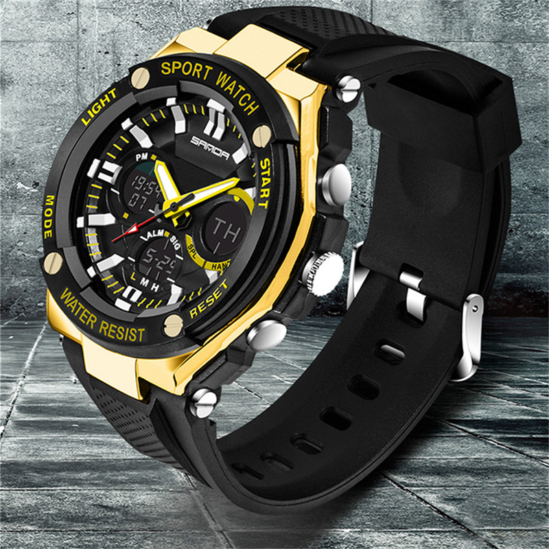 Sport Watch Luxury Double Display Cold Light Electronic Waterproof Mens F811