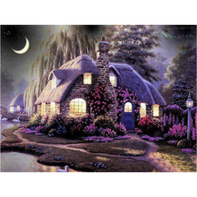 Flower town night diamond Embroidery diy painting mosaic diamant 3d cross stitch pictures H615