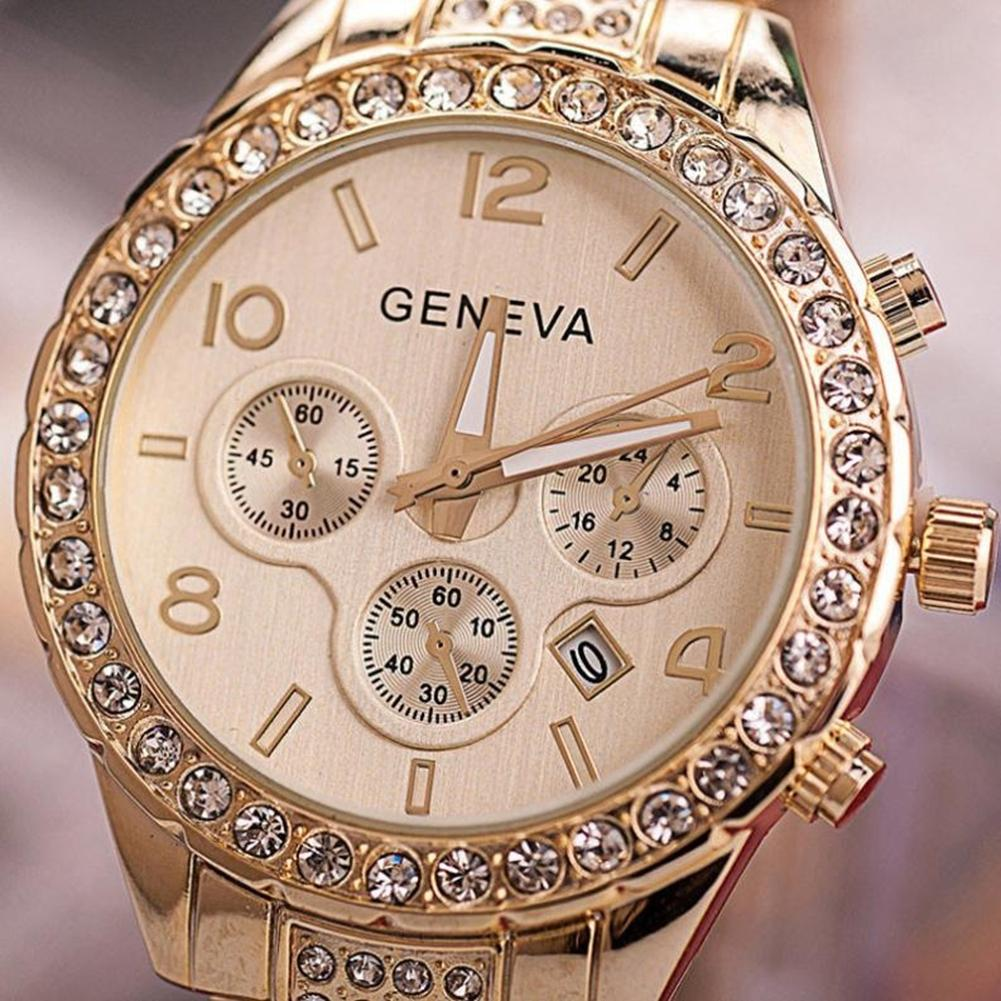 2018 Gold Watch Women Luxury Brand New Geneva Ladies Quartz Watch Gifts For Girl Full Stainless Steel Rhinestone Wrist Watches reloj mujer gold watch women luxury brand new geneva ladies quartz watch gifts for girl stainless steel rhinestone wrist watches