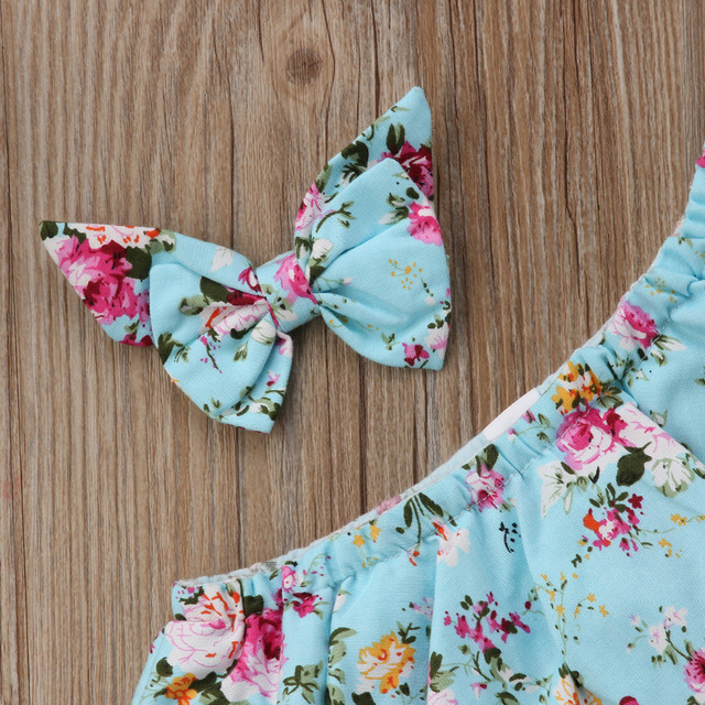 Baby Girl Blue Floral Romper and Ribbon Bow Set