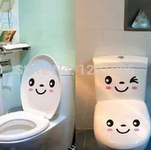 2017 fashion toilet smile face wall vinyl sticker custom made home decoration