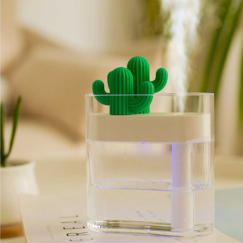 2019 New 160ml Sonic Cactus Humidifier Transparent Color Lamp USB Car Purifier Diffuser Mist Maker