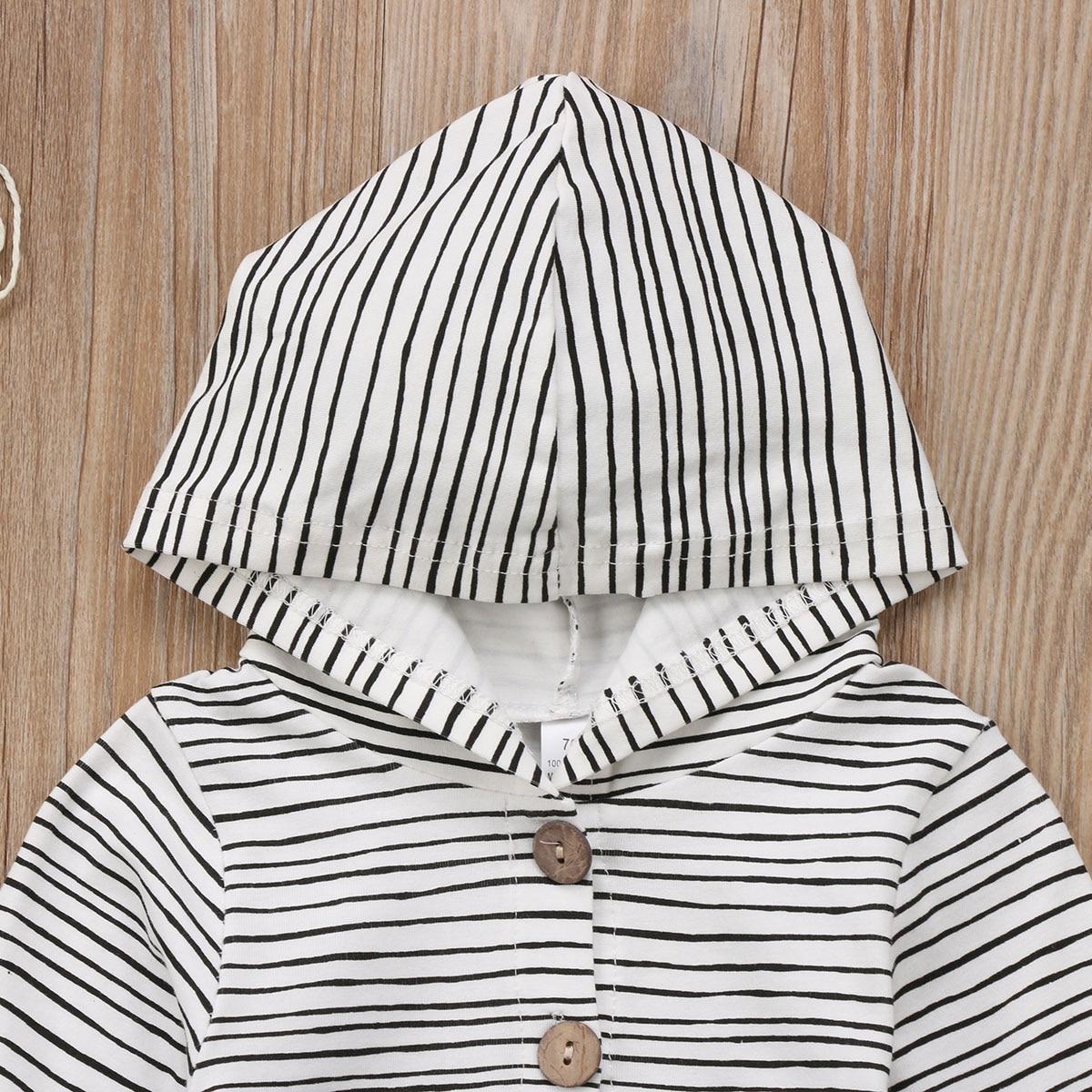 HTB1BzWSem I8KJjy0Foq6yFnVXaV 2018 Brand New Toddler Newborn Baby Boy Girl Warm Infant Romper Striped Jumpsuit Hooded Clothes Long Sleeve Outfit