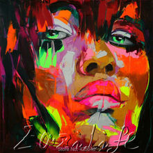 Palette knife portrait Face Oil painting christmas figure canva Hand painted Francoise Nielly wall Art picture202