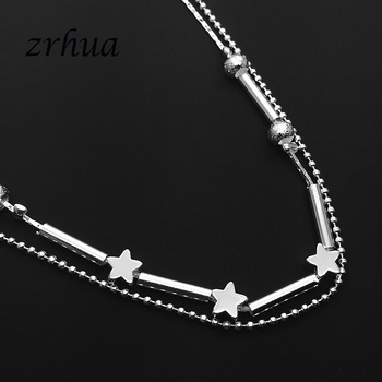 ZRHUA Beach Multilayer Star Beads Anklets Foot Chain 925 Sterling Silver Foot Anklet Bracelet For Fashion Women Jewelry 1