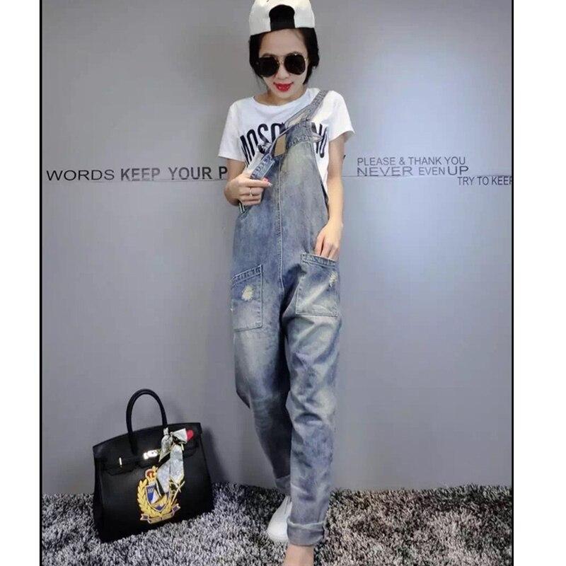 Denim Bib Female 2019 Spring And Summer Fashion New Loose Thin Large Size Hole Denim Bib Pants Nine Pants H00490 4