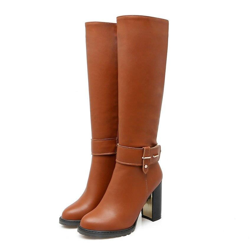 2016 Chaussures Western Botte En Qutaa Moto Carré Bottes Zipper Noir blanc Cuir Taille D'équitation Femmes 43 Talons Style 34 Genou Haute À Pu marron Hauts pZqqxAX