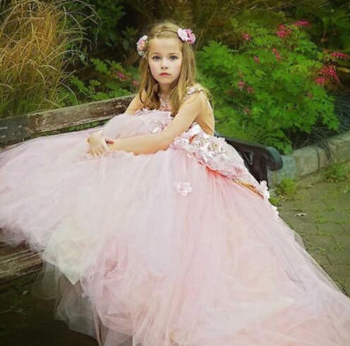 Unique Design Pink   Flower     Girl     Dress   Luxury Applique Little Princess Ball Gown for Wedding Party Pageant Custom Made