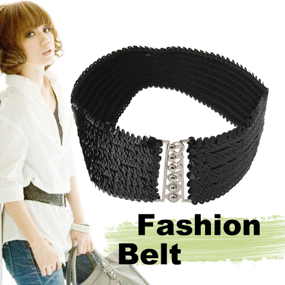 2019 New Women Belts Paillette Buckle Elastic Belt Waistband Women Black -MX8
