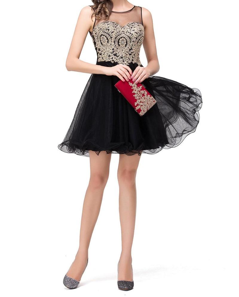 Beauty-Emily Vestidos de Renda Golden Lace Black Chiffon Evening   Dresses   Real Image Short   Prom     Dresses   Vestido de Festa Curto