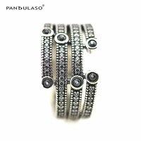 Pandulaso Shimmering Ocean Silver Rings for Women & Men Frosty Mint & Clear CZ Crystal Charms Rings 925 Sterling Silver Jewelry