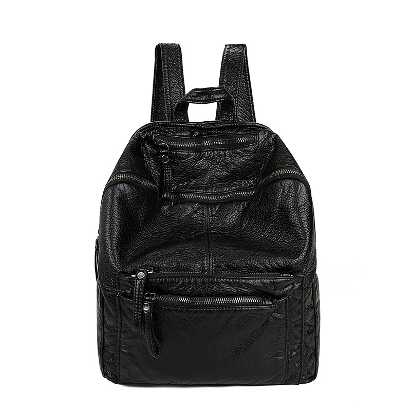 Fashion New Backpack Women 2017 Solid Black High Quality Brand School Bags for Teenage Girls PU