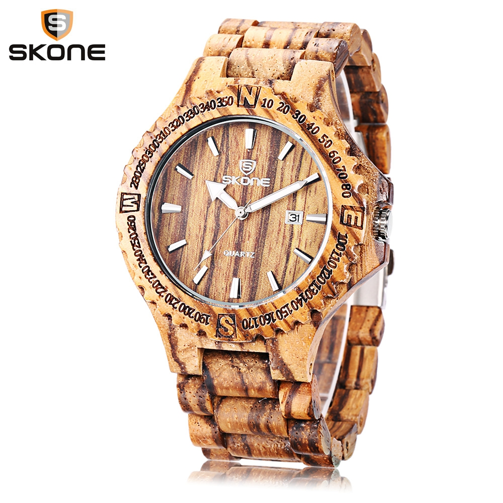 SKONE Wood Watch Fashion Men Quartz Watches Date Luminous Display All-wooden Wristwatch skone 5051 luminous pointers quartz watch men rotatable bezel wristwatch