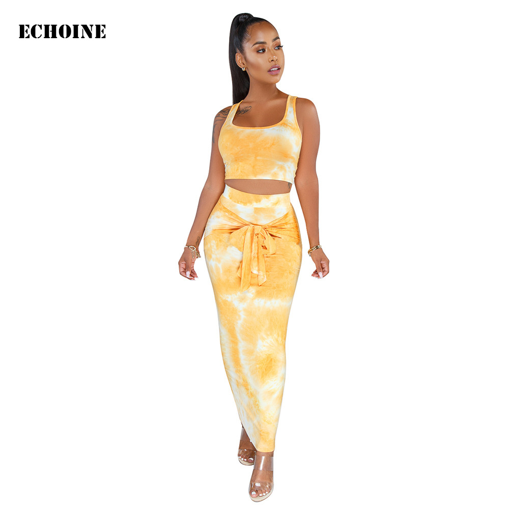 Women Sexy 2 Piece Set Tie Dye Print Skirt Set Sleeveless Crop Top And Long Pencil Skirt Lace Up Wrap Elegant Party Club Outfit