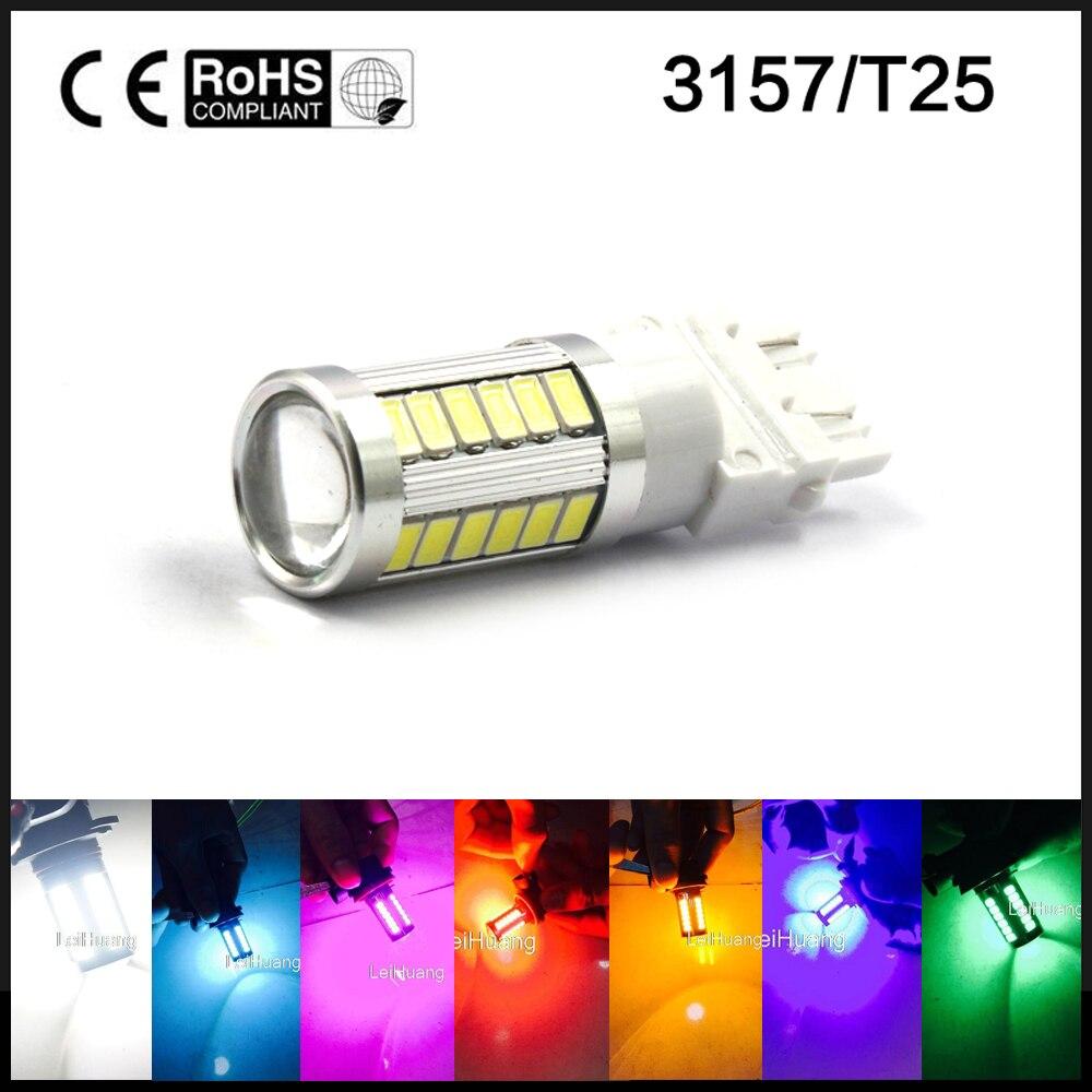 Супер яркий 3156 3157 светодиодные лампы для резервного копирования обратного сигнала поворота задние фонари тормоз Белый лед синий розовый зеленый желтый красный