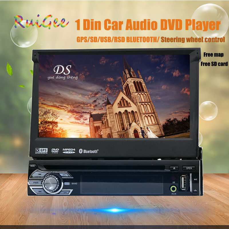In dash 1 din automotive car with GPS Nav 7 car audio stereo Bluetooth vedio Wince free camera 1 Din dvd player