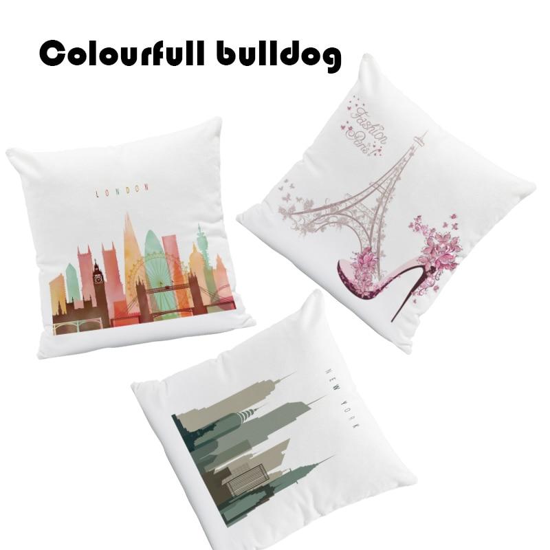 New Yorky Paris Cushion London Big Ben Pillow Tower Bridge Sofa Holiday Gift Word Pillow With Cover High Heels 45X45Cm Velvet