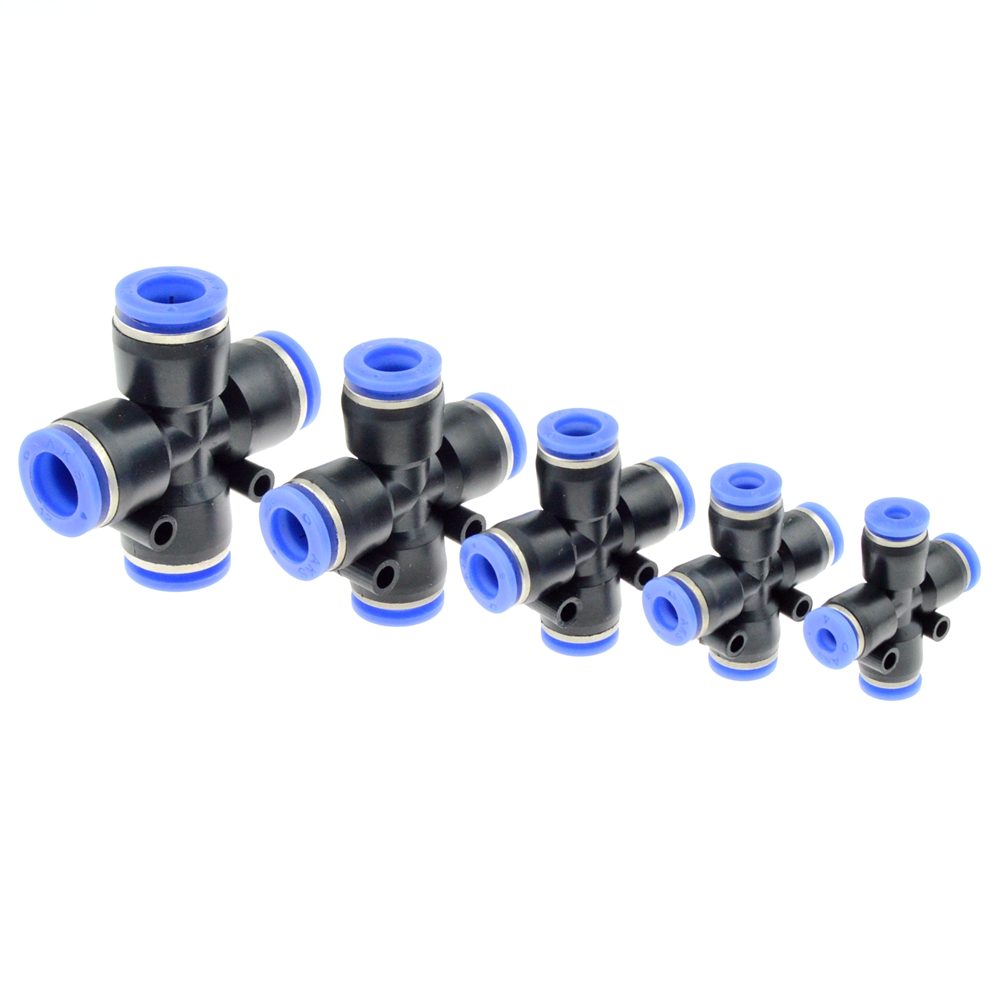 4 Way Cross Shape Equal Pneumatic 8mm 10mm 6mm 4mm 12mm OD Hose Tube Push In 4-Port Air Splitter Gas Connector Quick Fitting 1 piece pneumatic fittings quick push in connector air fittings for 4mm 6mm 8mm 10mm 12mm tube hose straight fittings