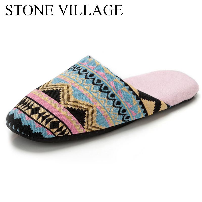 STONE VILLAGE Fashion Winter Warm Indoor Slippers Women Soft Bottom Non-Slip Flat Shoes Woman Casual Print Home Slippers women s winter furry slippers home non slip soft couples cotton thick bottom indoor warm rubber clogs woman shoes