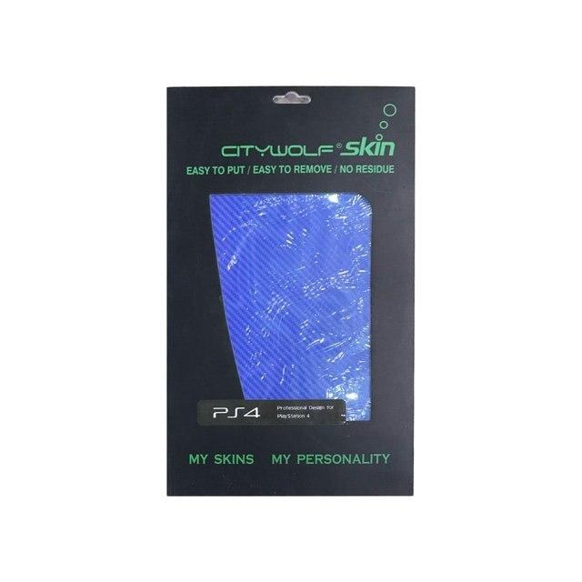 Jogo de Console Protector Tampa de Fibra De carbono Adesivos Decal Para PlayStation 4 PS4 azul