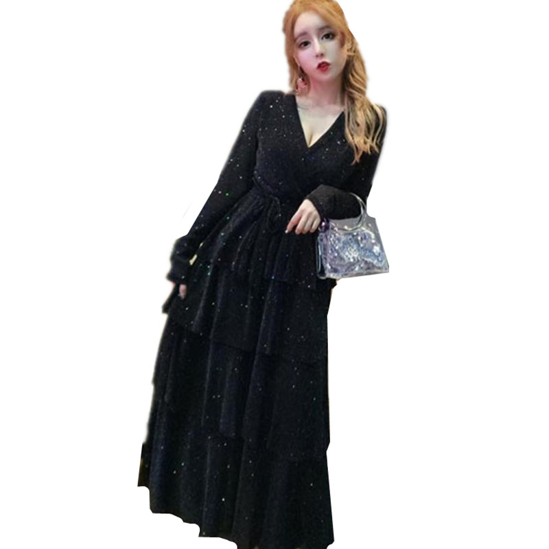 B3698 2019 spring autumn wear new women's fashion sweet temperament v-neck lace trim mesh sequined dress cheap wholesale 1