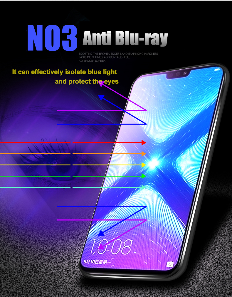 Image 4 - 2pcs Tempered Glass For Huawei Honor 8X / 8X Max Screen Protector 9H 2.5D Anti Blu ray Glass For Huawei Honor 8X Max glass film-in Phone Screen Protectors from Cellphones & Telecommunications
