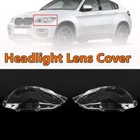 Прозрачный фар фары линзы крышка в чешуйками; абажур для лампы с металлическим каркаксом влево/вправо для BMW 2008-2014 E71 X6 Пластик покрытие авто...