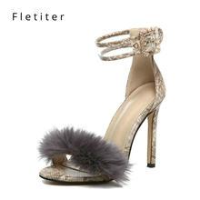 b0e92e65e9951a Fletiter 2018 bride à la cheville fourrure sandales femmes mode léopard  mince talons hauts femmes sandales noir chaussures d'été.