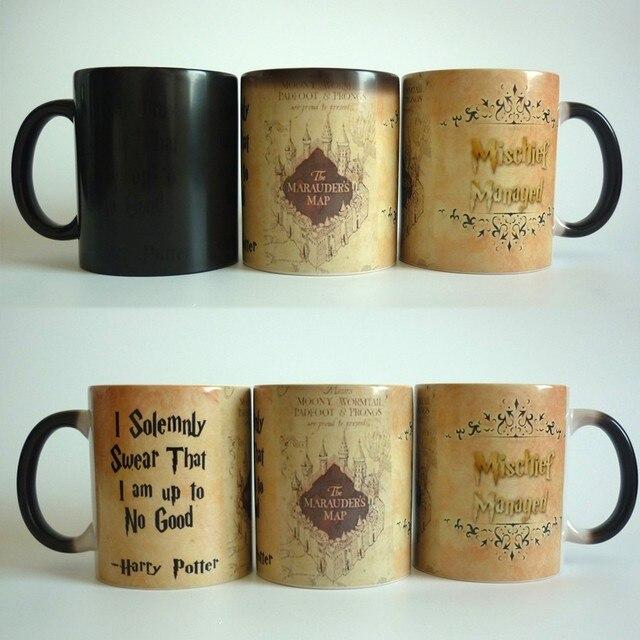 drop shipping New Light Magic magic mugs Marauders Map mischief managed mug color Changing Heat Reactive Coffee cup mugs
