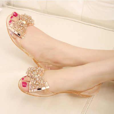 25a560609943 Women Flats Shoes Bowtie Beach Rhinestone Jelly Peep Toe Woman Summer Flip  Flops Slippers Slip on