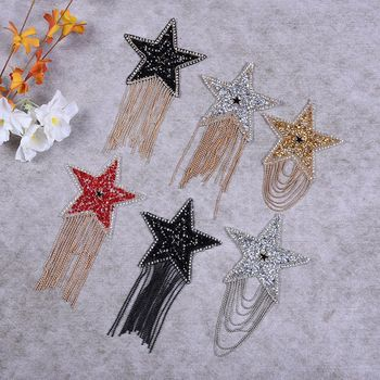 Sparkling Rhinestone Five-pointed Star Pattern Clothes Patches Iron On Clothing Badges Diamond Sticker Shirt Hat Luggage image