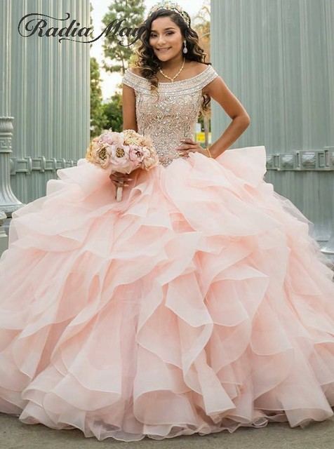 fd3968a3e694f Luxury Crystal Beaded Debutante Ball Gowns Blush Pink Quinceanera Dresses  2019 Off Shoulder Ruched Puffy Organza Sweet 16 Dress