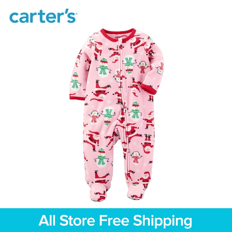 Carters 1-piece baby children kids clothing Girl Spring Fall Fleece Zip-Up Christmas Sleep & Play 119G268