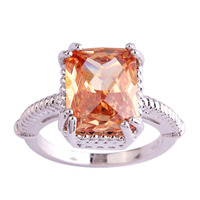 lingmei Wholesale Women Jewelry Emerald Cut Morganite 925 Silver Ring Size 6 7 8  9 10 11 New Design Fashion Popular Party Rings