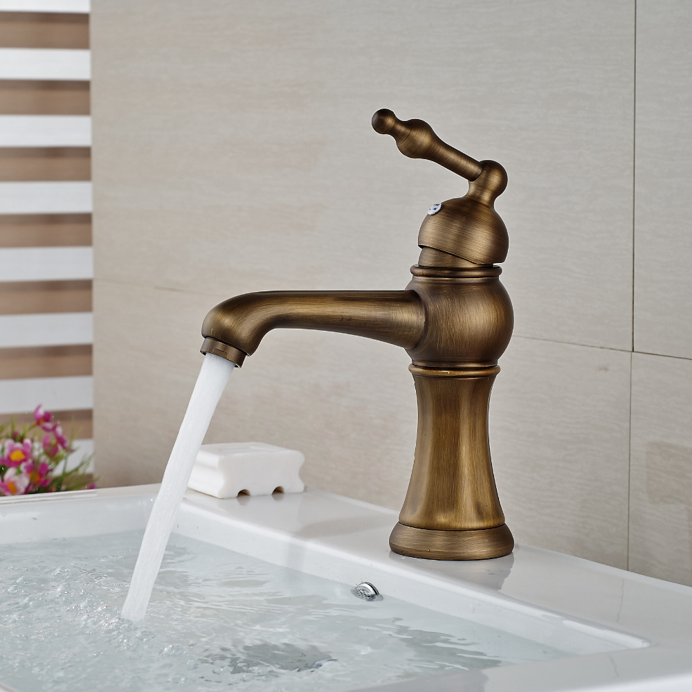 Antique Brass Bathroom Basin Faucet Single Handle Deck Mounted Sink Mixer Tap Bib Tap bakala black fashionable tap bathroom mixer single handle single hole surface mounted bathroom sink faucet br 2017434